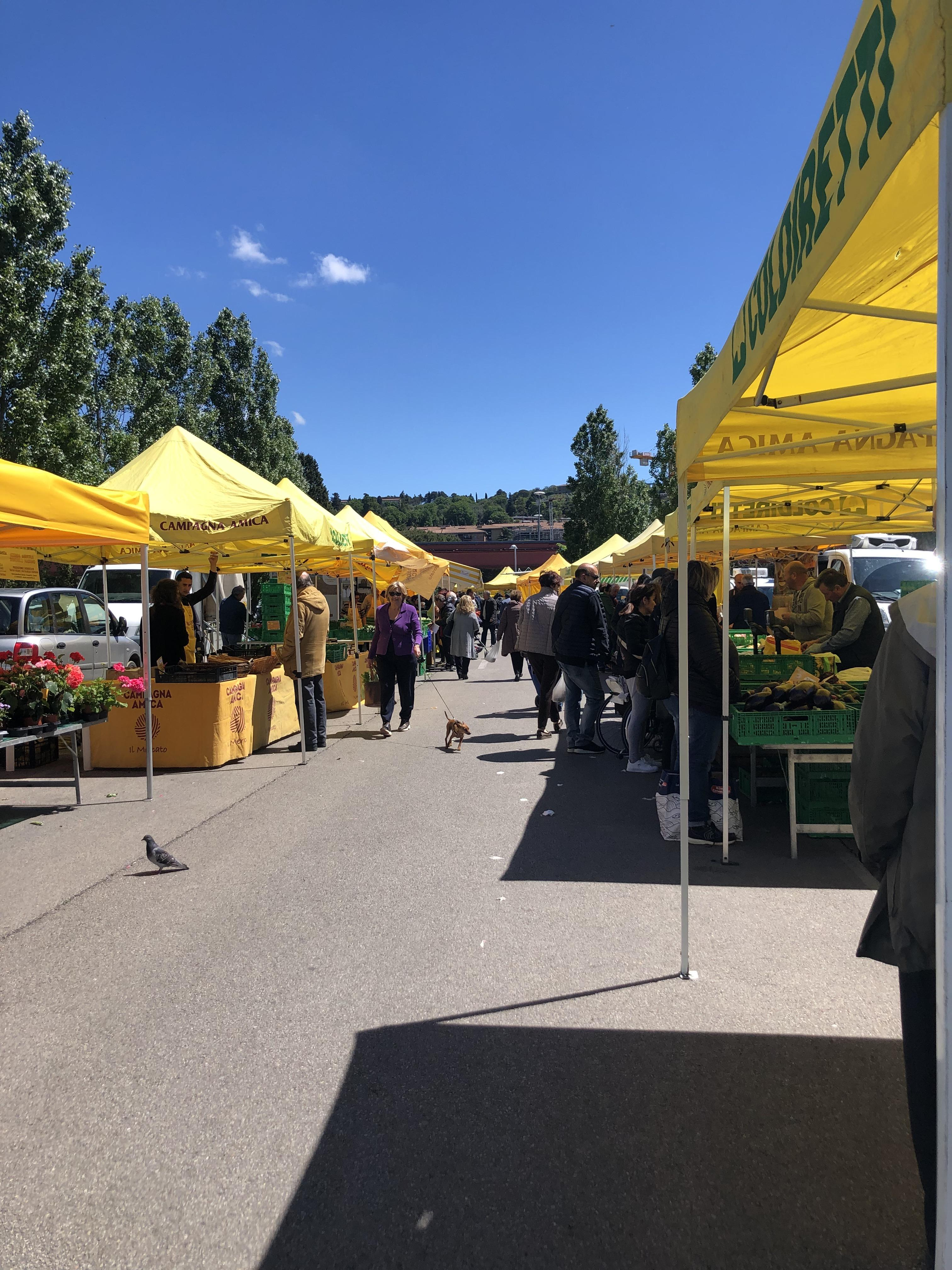 The iconic yellow tents that identify the Campagna Amica Farmer's Market throughout Italy