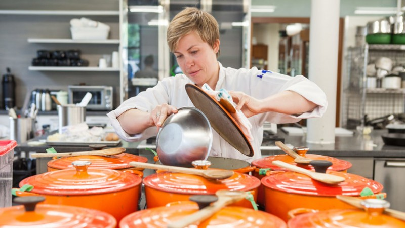 Kate Shannon ('08), in a behind-the-scenes shot during the testing of beef broths for America's Test Kitchen