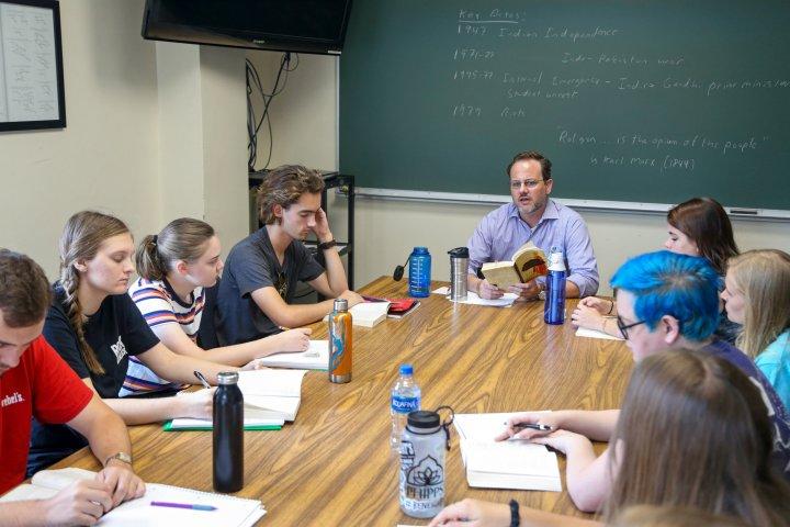 Professor Mark Allison teaching English class